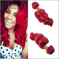 Top fashion stock Aliexperss Hair 100% Red Human Hair Loose Wave Weaving Unprocessed Red Brazilian Hair Weave