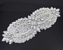 Large Shiny Rhinestone Applique for Bridal Sashes,beaded applique For dresses,DIY Applqiue for weddings accessories
