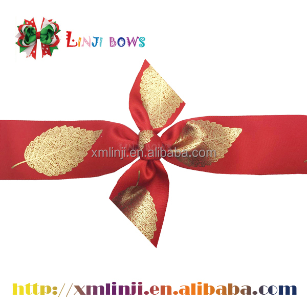 2016 Popular factory fancy printed ribbon for gift bow .handmade new type gift ribbon bow
