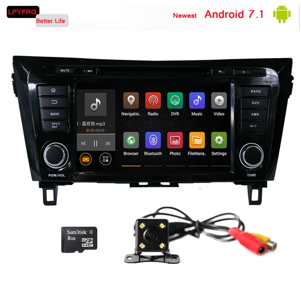Newest android 7.1 car dvd player for nissan x-trail qashqai accessories rear cam TPMS DVR DAB+