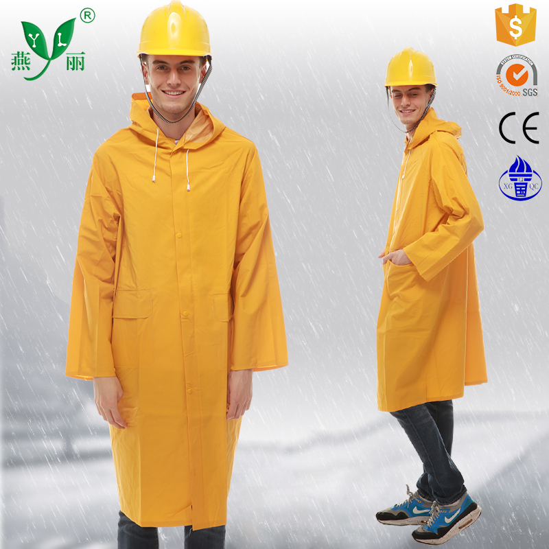 Hooded with adjusting rope 0.25-0.5MM raincoat manufacturer long pvc raincoat women raincoat for motorcycles