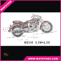 Shiny hot-fix rhinestone transfer motorcycle biker for sports men