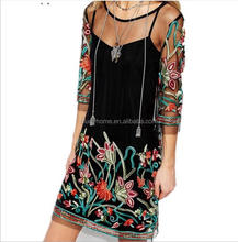 Women Summer Dress 2017 Boho Vintage Floral Embroidery Lace Mesh Mini Dresses Casual See Through Plus Size Vestidos