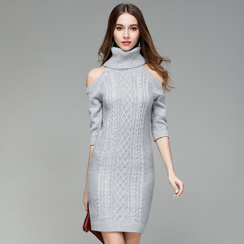 40607121 Wholesale Fashion Sexy Tight High Collar Lady Women Sweater Dress