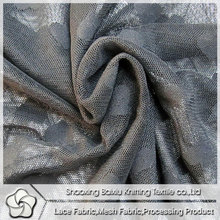 Stock T247-D grey mesh stretch jacquard lace