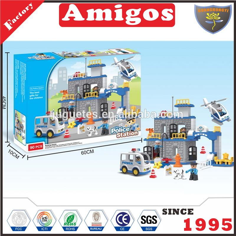 Boys plastic building block toys police series for playing