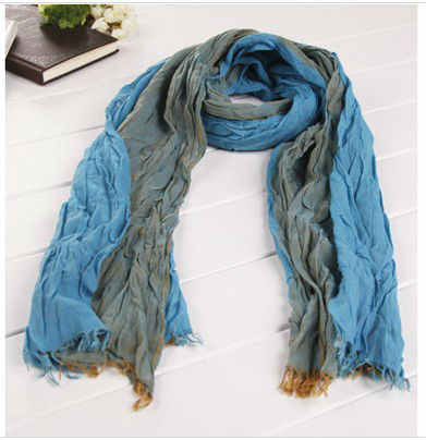 Yarn-dyed men's crinkle scarf cotton