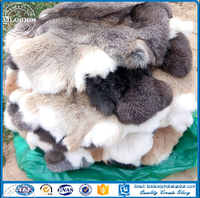 Natural white rabbit fur skin/Tanned rex rabbit fur skin