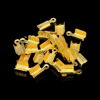 100PCS/pack 4*13MM Gold/Silver Plated Textured End Caps Crimp Beads for necklace bracelet DIY Findings Handmade Accessories