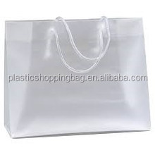Rope Handle Plastic Transparent Bag OEM Custom Printed Frosty Plastic Shopping Bag