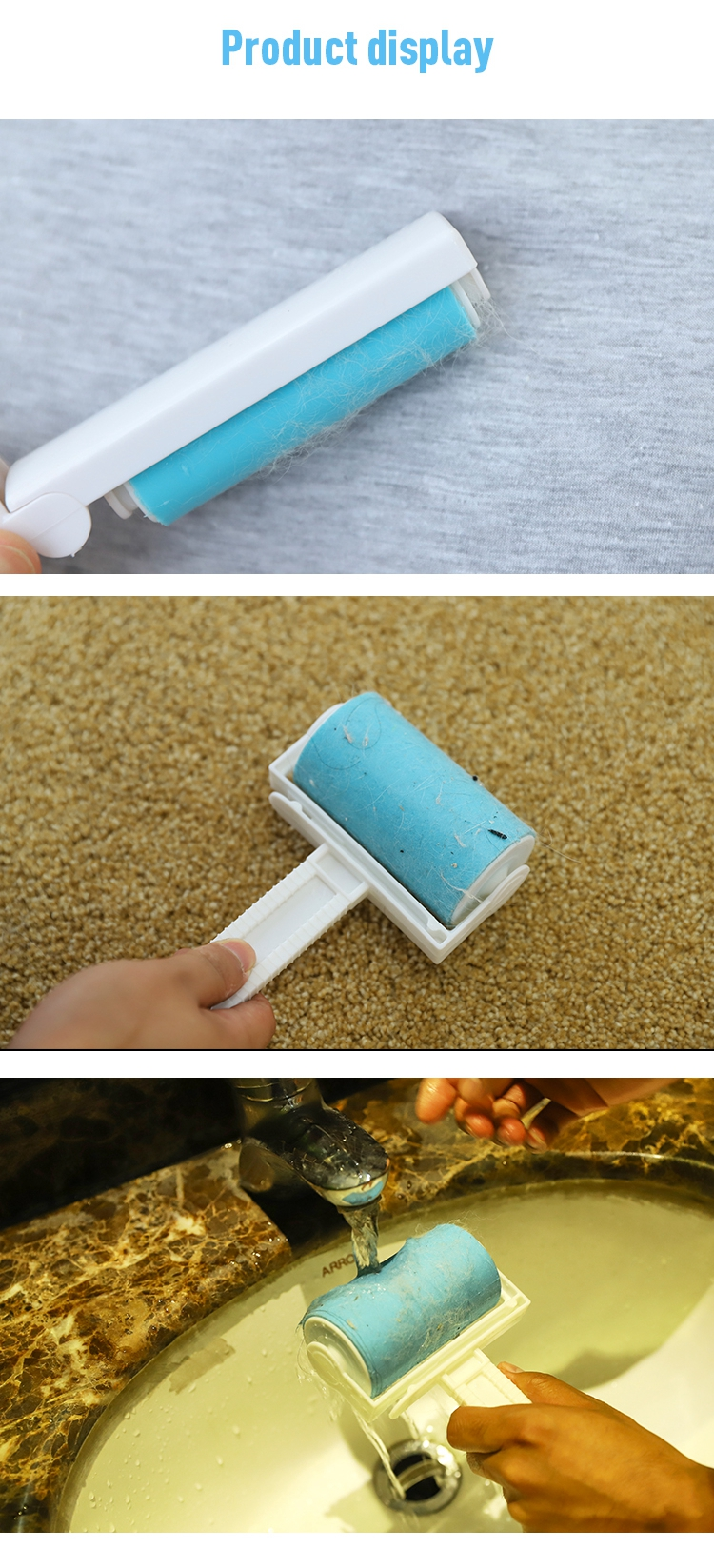 Factory direct sale tianyuan pet washable hair lint roller remover