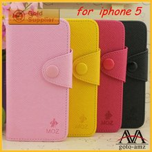 High quality wallet leather case for iphone 5 flip cover