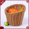 High mouth plastic wicker hand woven designer fruit basket decoration