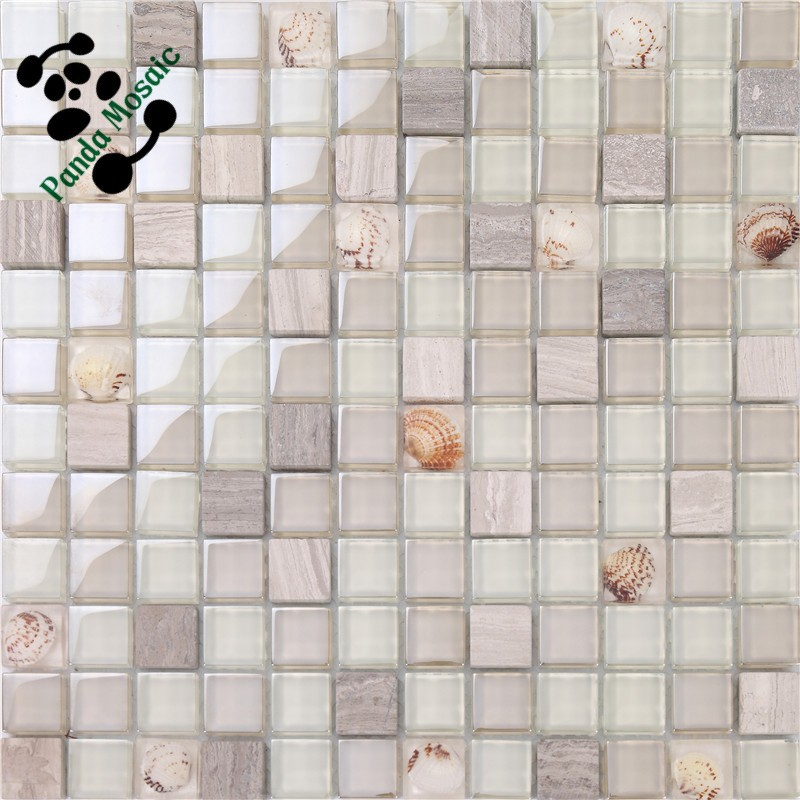 MB SMS13 Decorative Interior Tile Natural Stone Mix Glass Mosaic Wall Tile Glass Resin Kitchen Backsplash