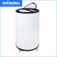 Promotional party round barrel beverage cooler with wheels