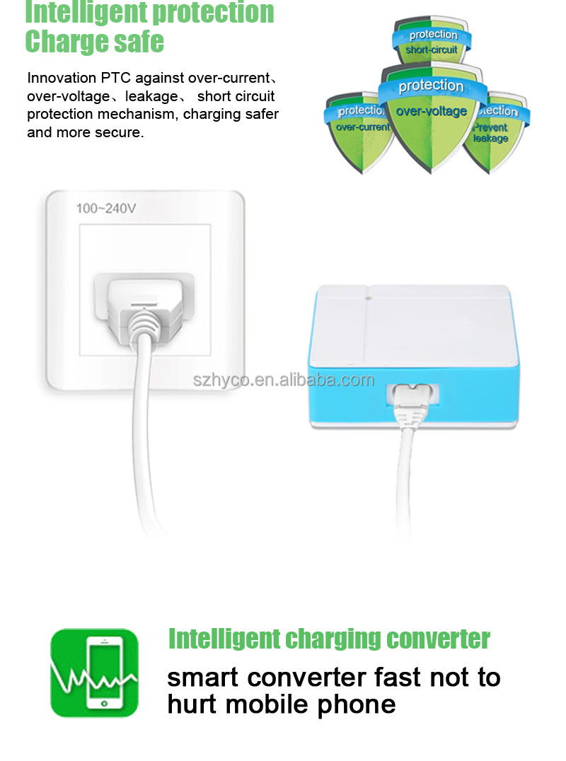Best quality fire-resistant housing usb wall charger with 5 port 8A output usb power strip