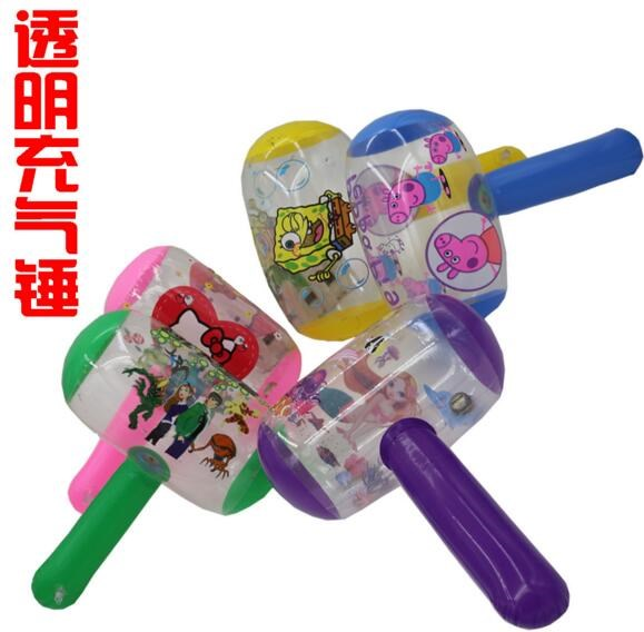 Cartoon Inflatable Hammer Air Hammer With Bell Kids Children Blowing Up Toys-Colors May Vary
