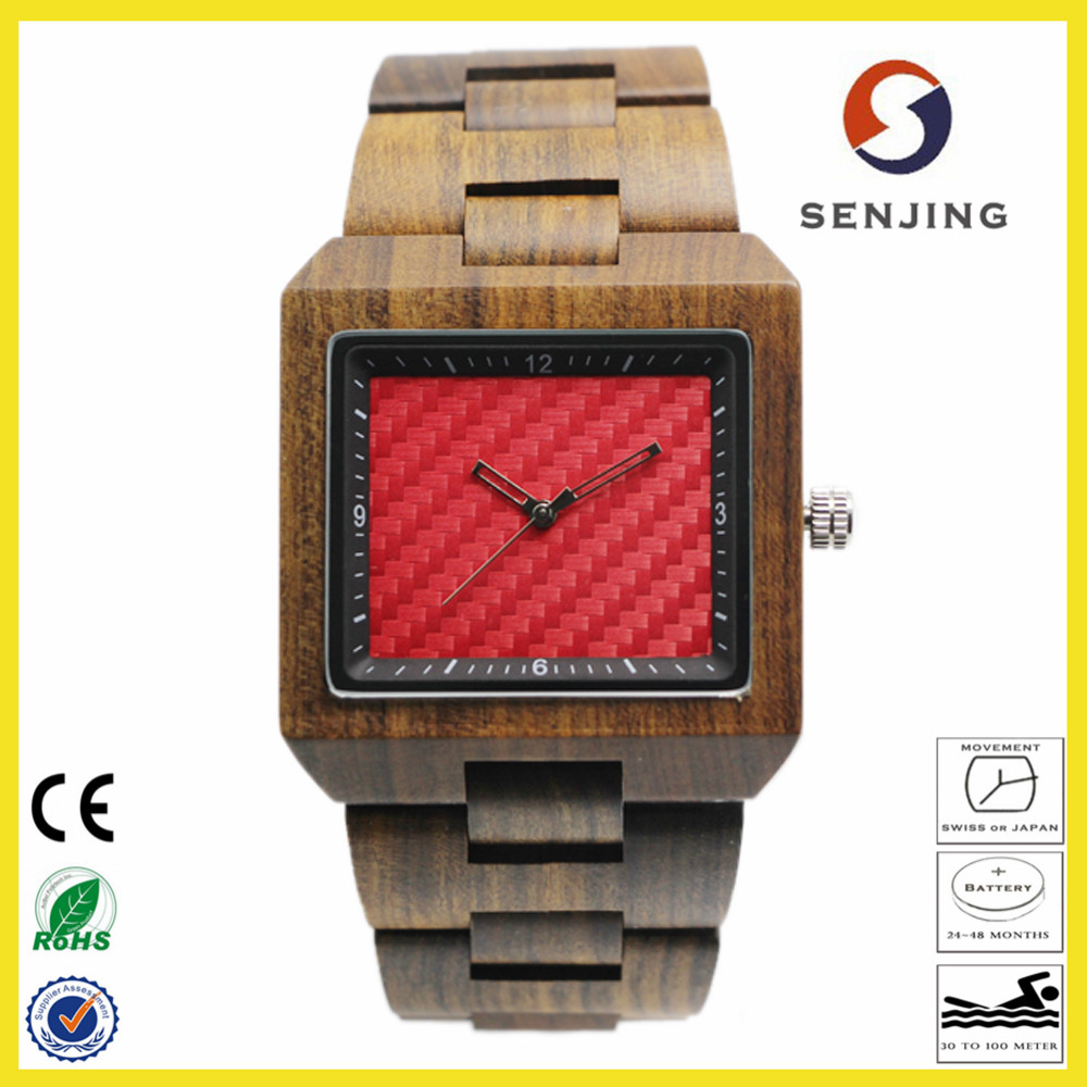 2017 trendy design custom logo square case wood watch, your logo luxury wood watch oem for men