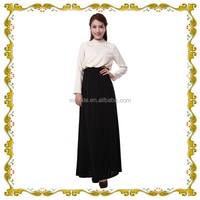 long sleeve abaya of jeddah dress in black and white color for women MF23569