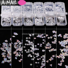 Star/Moon/Round/Square/Triangle/Rhombus 12kinds Shapes Gold Silver Holographic Nail Glitter Sequins