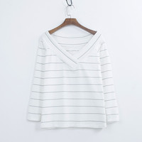 Womens Apparel Blank Striped Sexy V