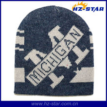HZM-13788 navy warmer for man letter jacquard led knitted promotional cap