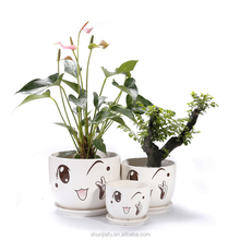 Ceramic Cute Cartoon Smiley Face Flower Pot Sets