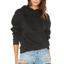 YL Oem custom fashion women black 100% cotton long sleeve oversized hooded hoodie blank for wholesale