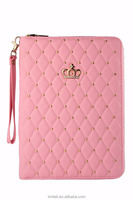 High quality bling crown zipper PU leather protective case with the beads tablet bag for Ipad mini