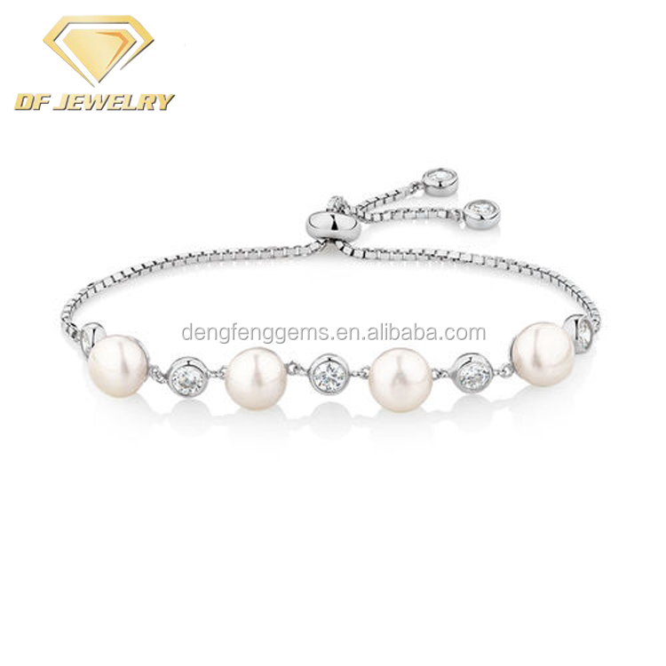 Pearl Adjustable Sterling Silver Bracelet With Cubic Zirconia