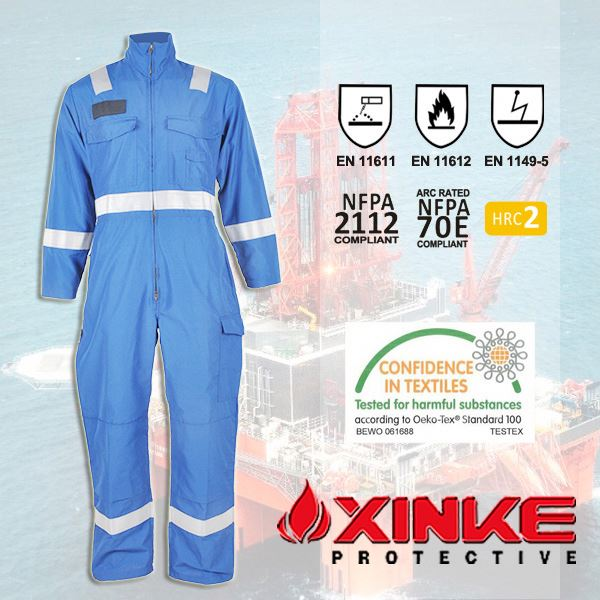 NFPA2112 flame retardant coverall are made by aramid fabric