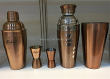 2PCS 750ml Stainless Steel Copper Rose Gold Plated Recipes Cocktail Shaker/Mixer Gift Set+Double Measuring Jigger+OEM Brand Logo