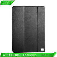 Black color stand hard cover for iPad mini shock proof case made of genuine leather