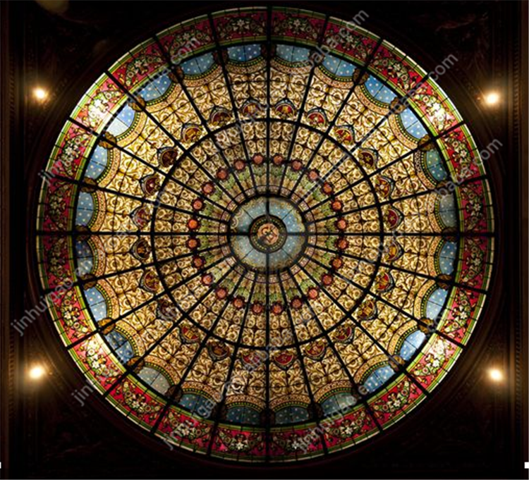 Round shape curved Stained glass skylight dome with stainless steel 304 frame