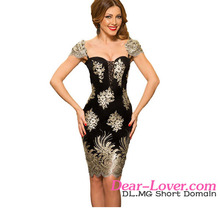 Gold Embroidered Puff Sleeve Little Black Evening Dress Short Cocktail Dress Philippines