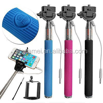Selfie Stick, Extendable Wired Cable Control Self-portrait Monopod with Remote Shutter for phone