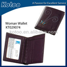 PU leather womens wallets/purse with embroidered logo