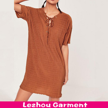 lady fashion dress tie up t shirt dress