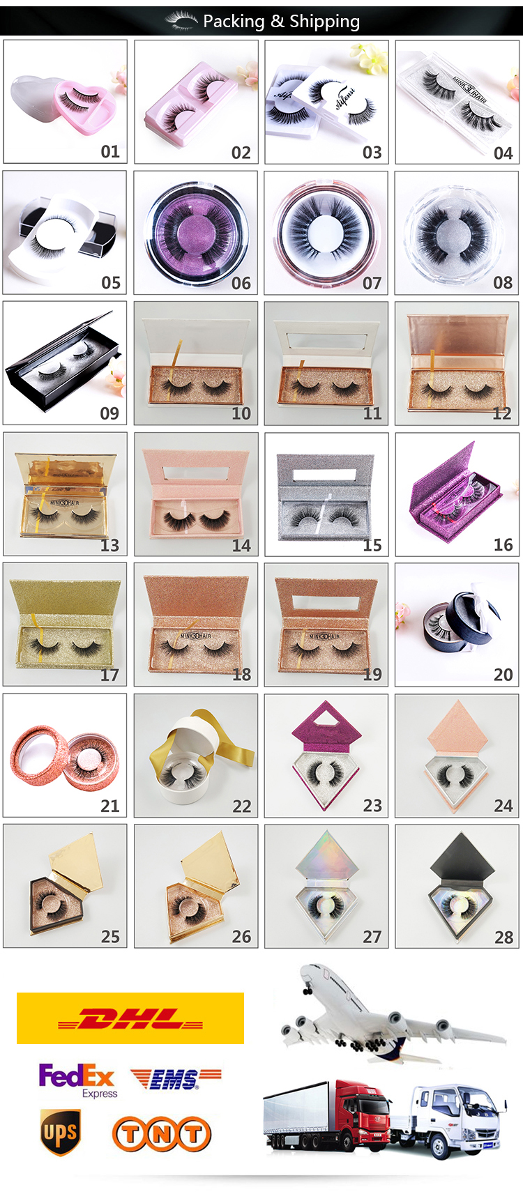 Custom made packaging  3D korea silk colorful strip eyelashes high quality privatelable colored lashes