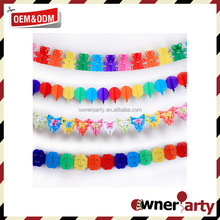 Factory Direct Beautiful Paper Bunting Garland High Quality Decorative Tissue Flower Garland