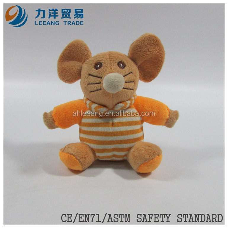cute/lovely baby plush/stuff toys/animal toys/orange clothes mouse with ring, Customised toys,CE/ASTM safety stardard