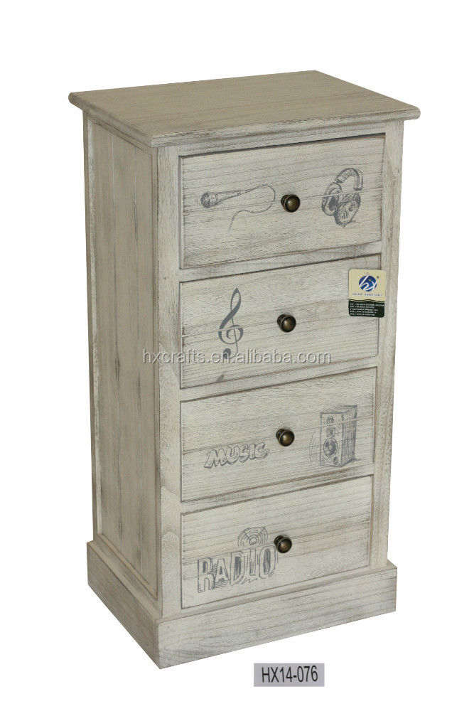 Western style chest of drawer antique finish bedroom