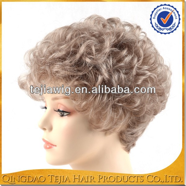 Wholesale short blonde color synthetic small tight curly old lady wigs