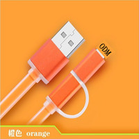Factory OEM+ODM+LOGO Hot selling for fruit Jelly shine 2 in 1 USB data cable to i5/i6/android/ColorfulJelly Flat Micro USB cable