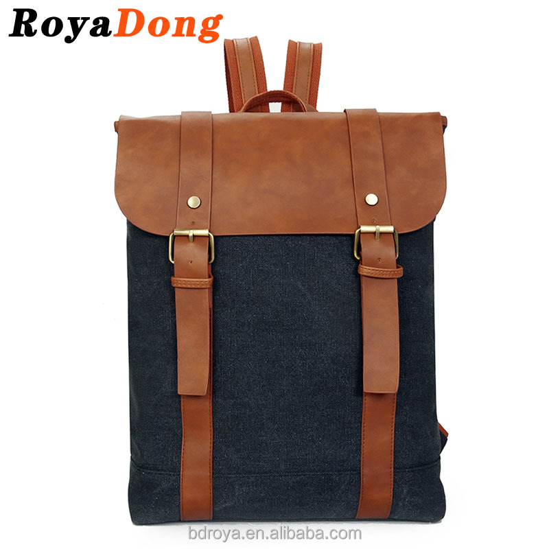 RoyaDong Brand 2016 Men's Backpacks Vintage Canvas+Pu Leather Outdoor Travel Bags