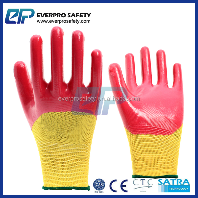 China Fatory Supply Waterproof Light Weight Oil Resistant Nitrile Dipped 3/4 Coated Gloves