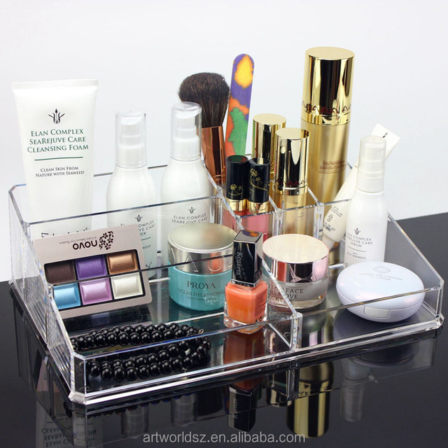 Acrylic cosmetic bottle display stand cosmetic organizer display makeup organizer with drawers