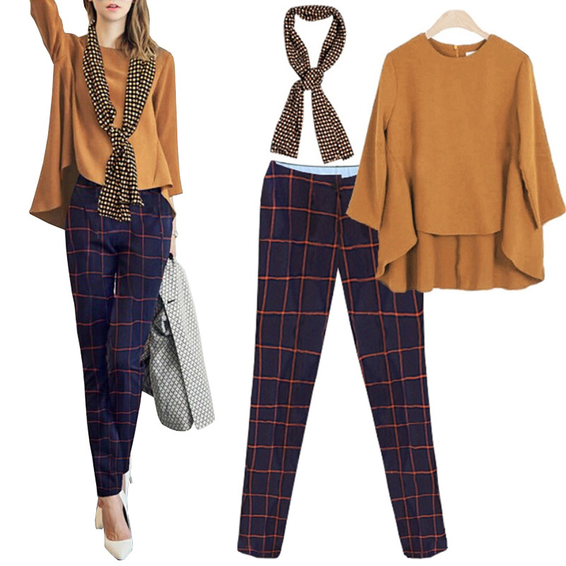 2015 New Women Clothing Set Fashion Plus Size 2 Piece Set Women Spring & Autumn Casual Brand Design Women Blouse+Plaid Pants