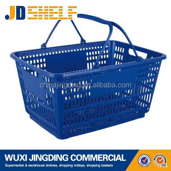 Supermarket small shopping plastic basket with handles