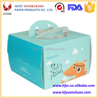 Customized disposable paperboard cake box with handle and window